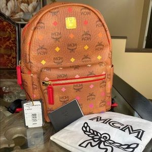 Brand New MCM Backpack Cognac Visetos Authentic